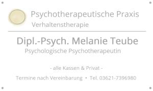 Psychotherapie-Praxis von Dipl.-Psych. Melanie Teube in Gotha | Adressen-Schild Impressum